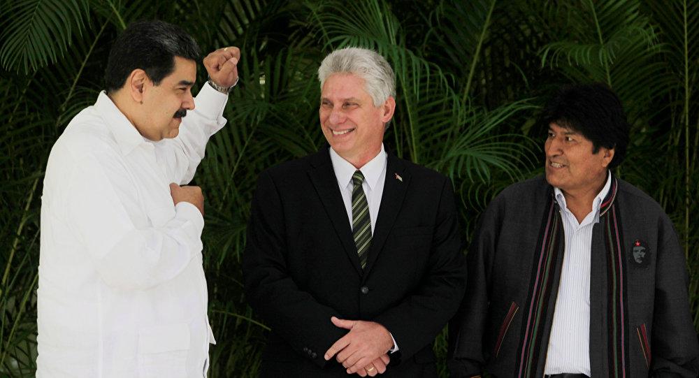 El presidente de Venezuela, Nicolás Maduro, el presidente de Cuba, Miguel Díaz-Canel, y el presidente de Bolivia, Evo Morales (archivo)