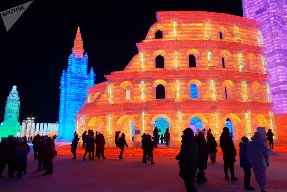 Esculturas de hielo en el festival de hielo y nieve de Harbin