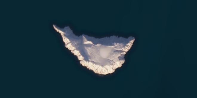 La imagen satelital de la isla siberiana Jeannette en el servicio de mapeo Bing Maps