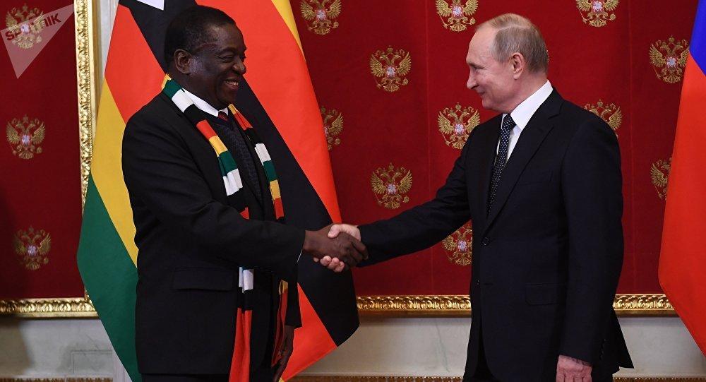 Presidente de Zimbabue, Emmerson Mnangagwa, y su homólogo ruso, Vladímir Putin