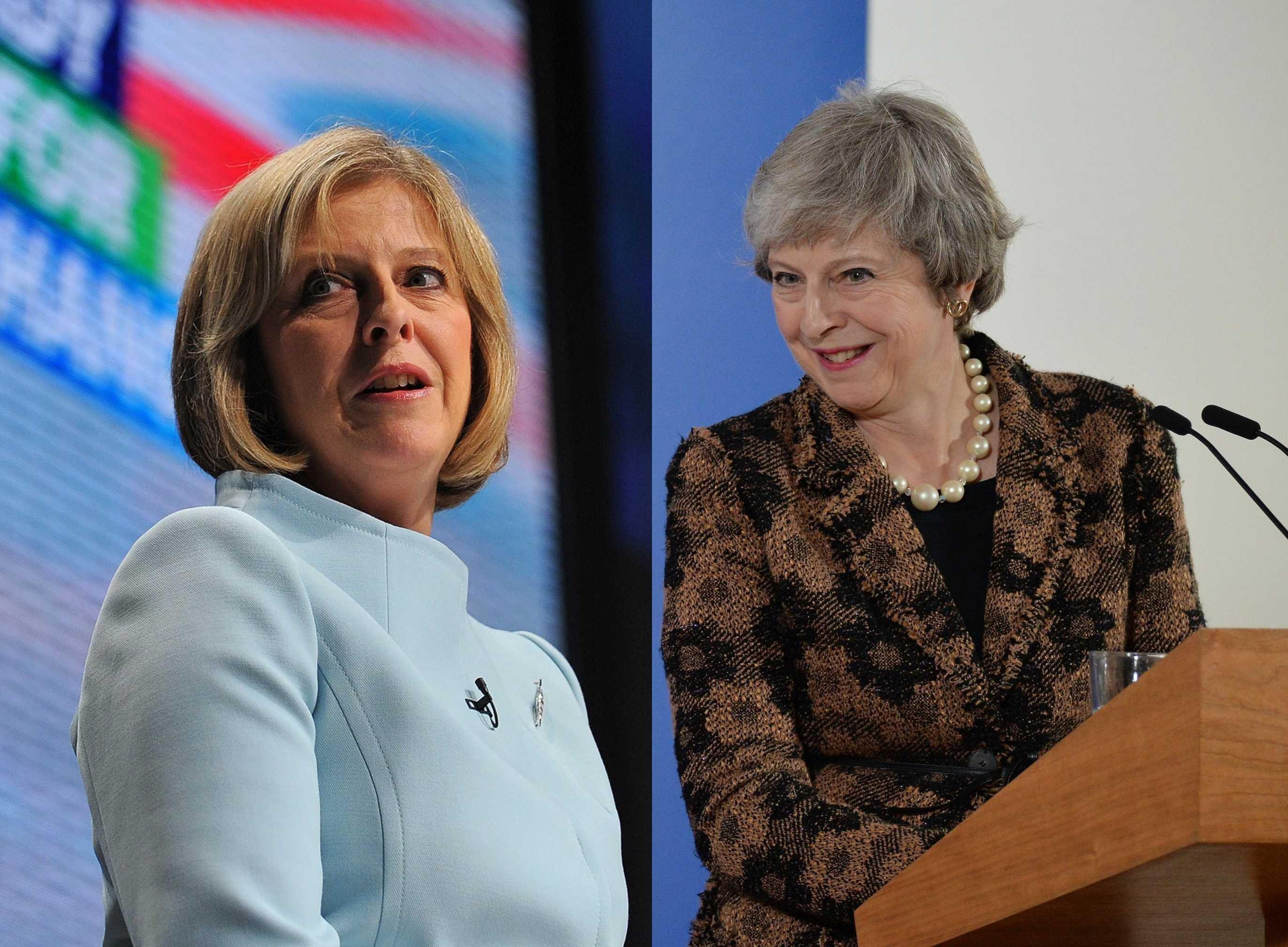 La actual primera ministra del Reino Unido, Theresa May, en el 2009 / en el 2018