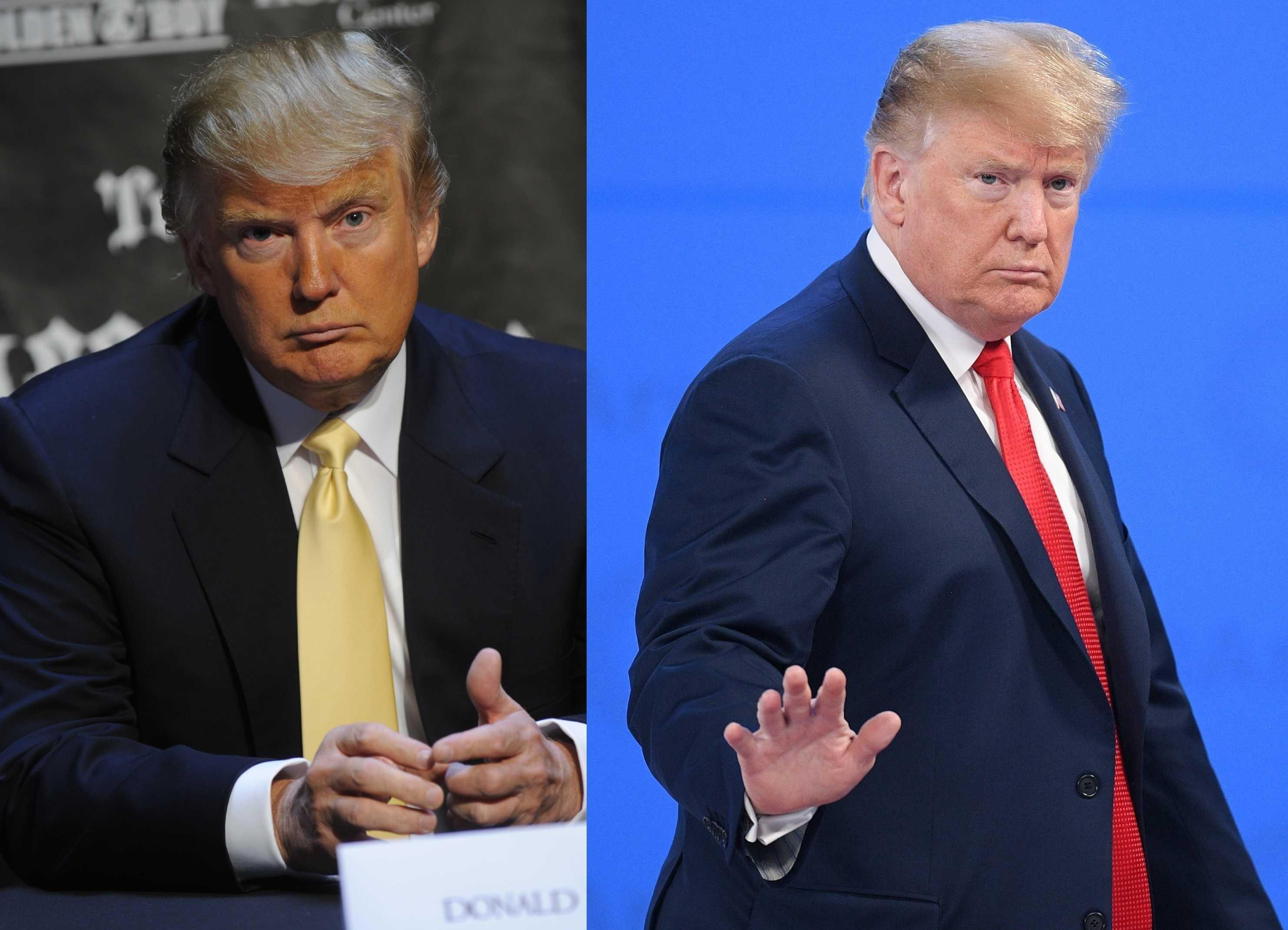 El actual mandatario estadounidense, Donald Trump, en el 2009 y en el 2018