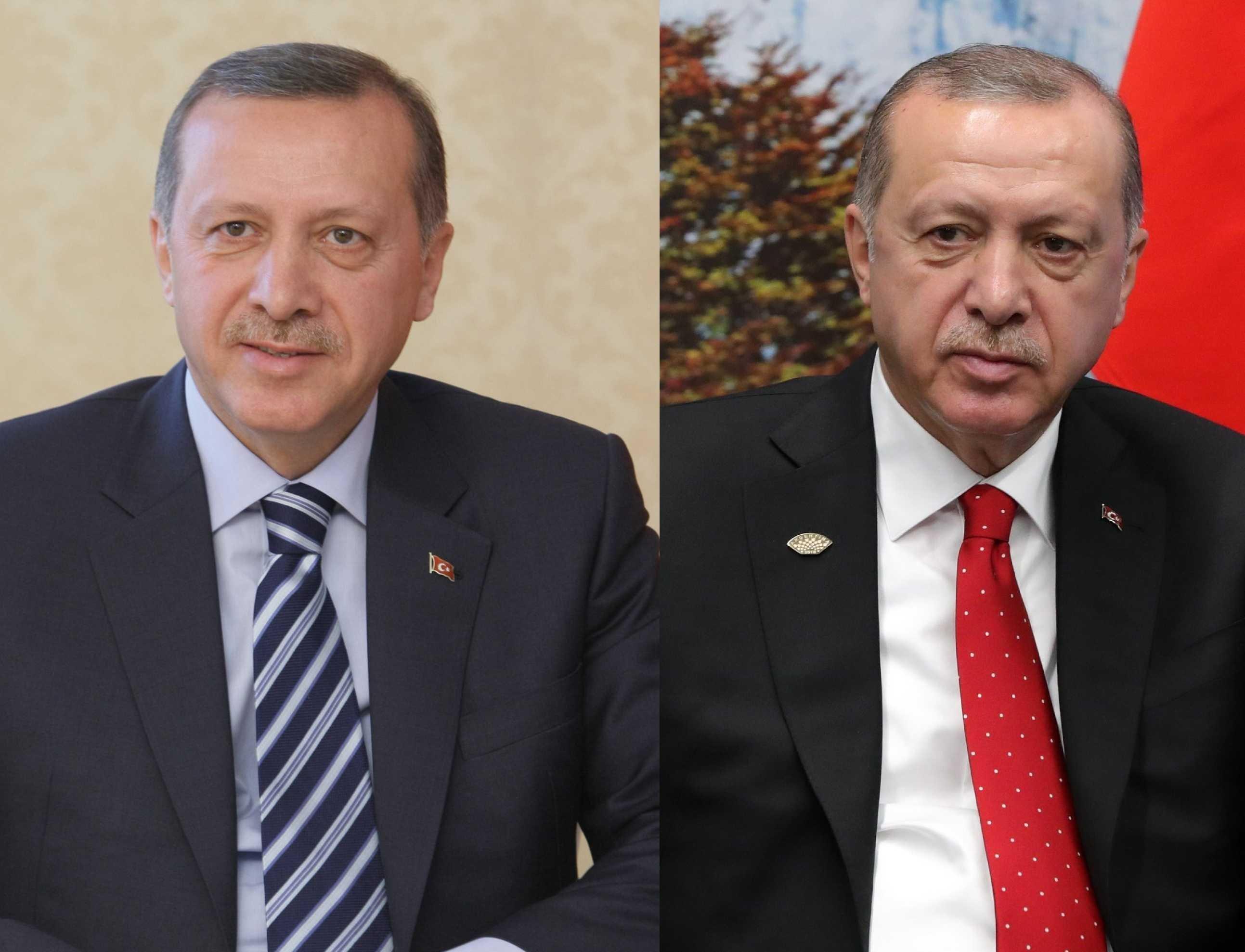 El actual líder turco, Recep Erdogan, en el 2009 / en el 2018