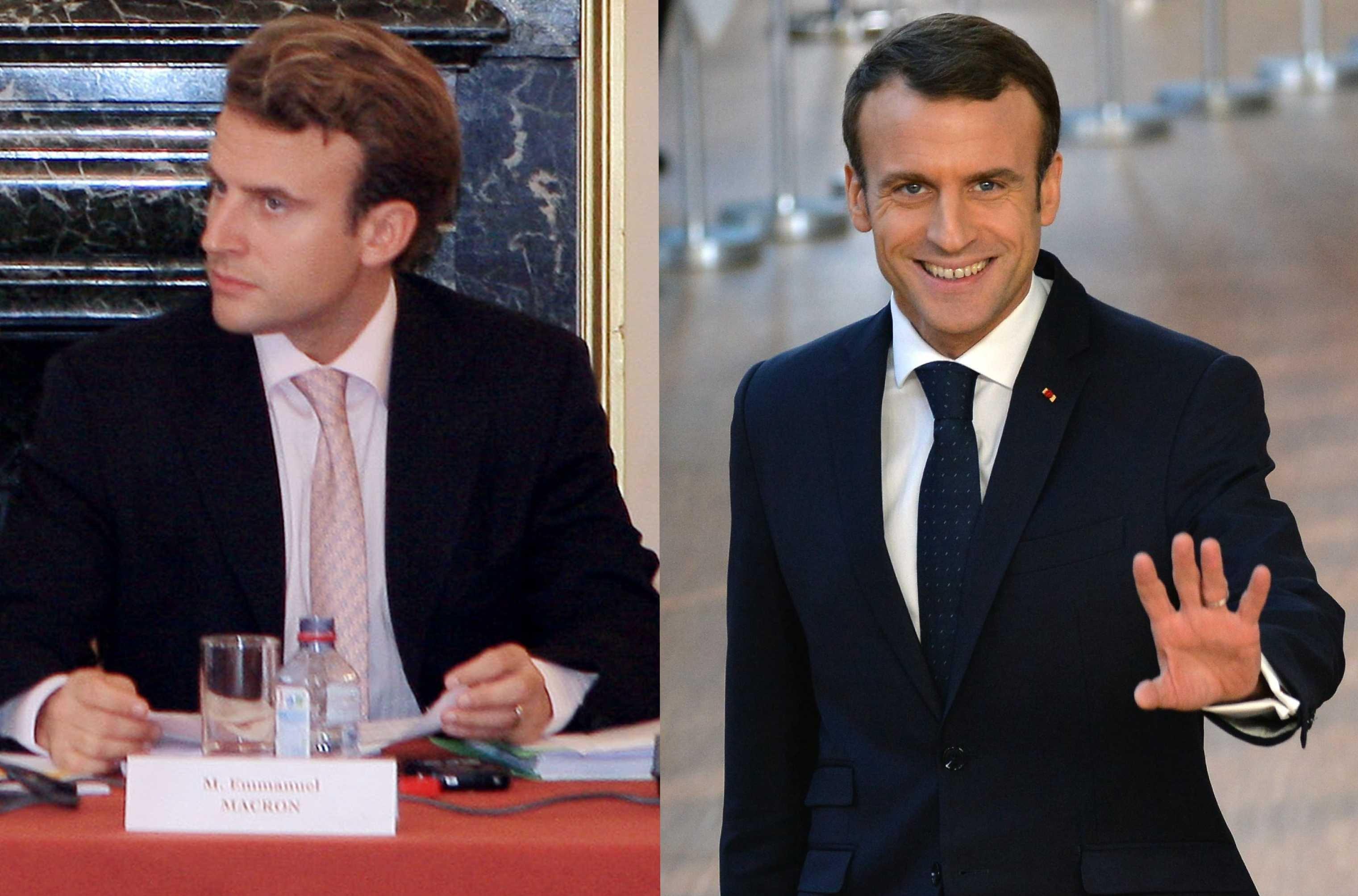 El actual mandatario francés, Emmanuel Macron, en el 2007 / 2018