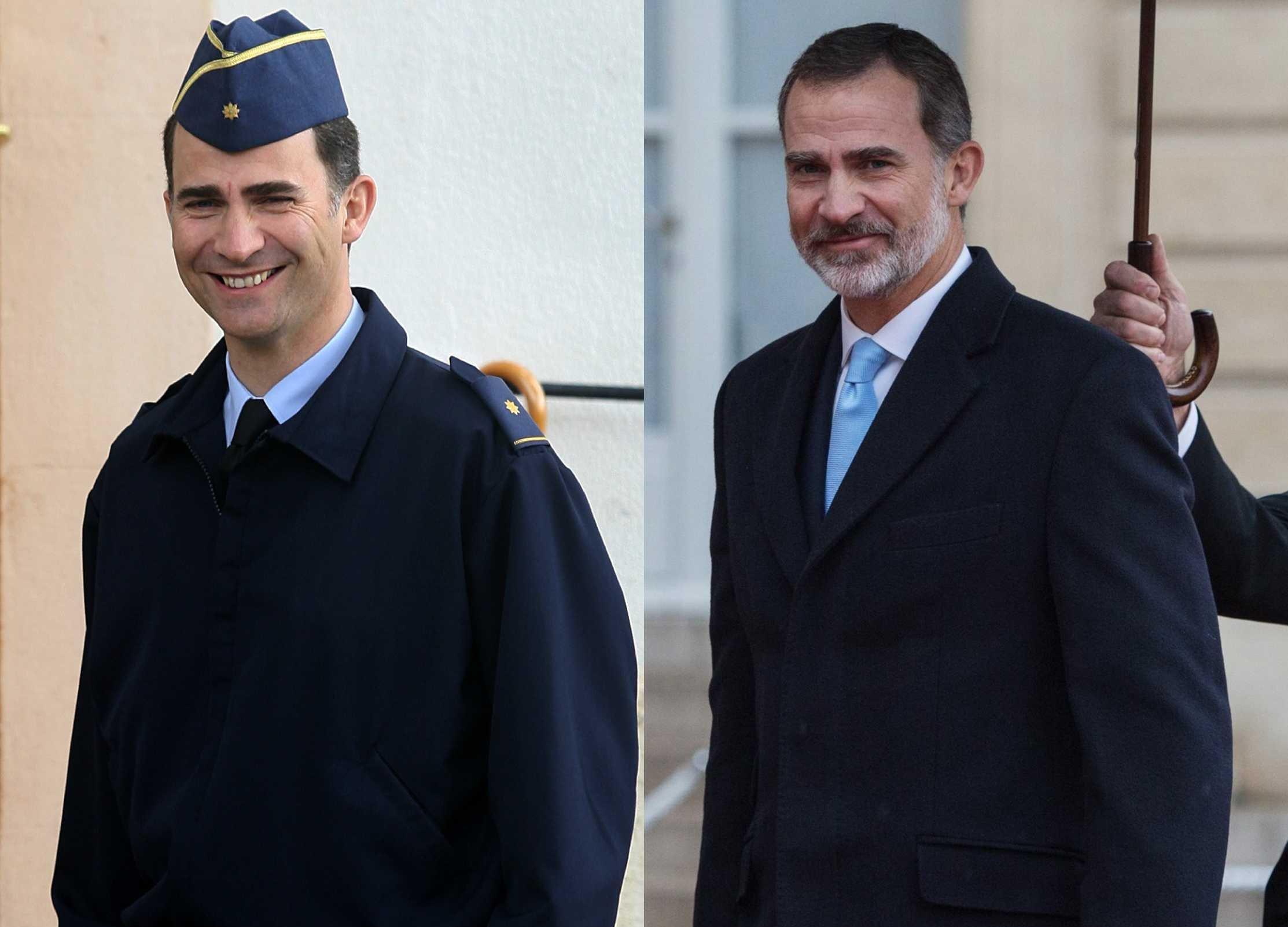El actual Rey de España, Felipe VI, en el 2009 / en el 2018