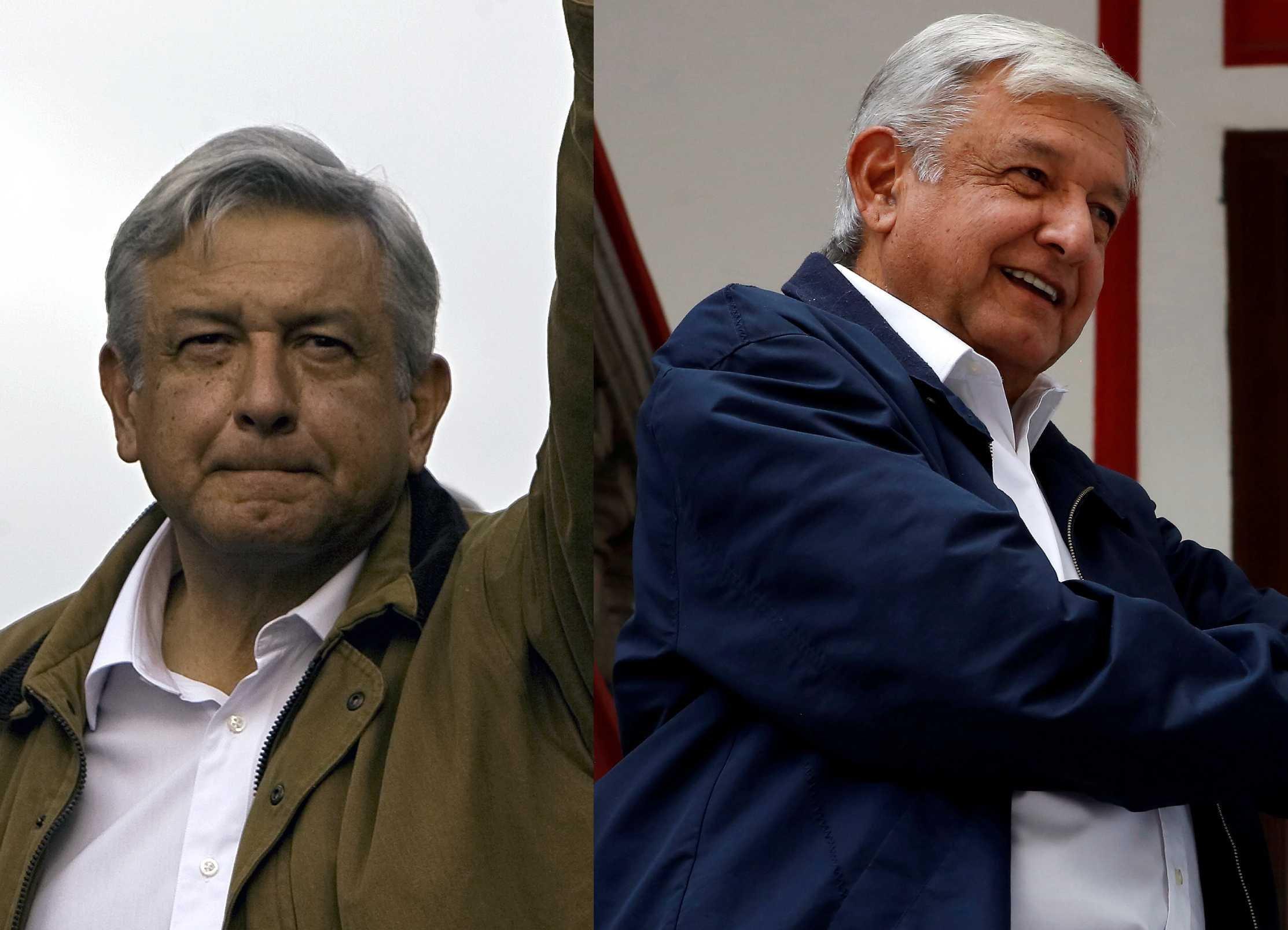 El actual presidente de México, Andrés Manuel López Obrador, en el 2008 y en el 2018