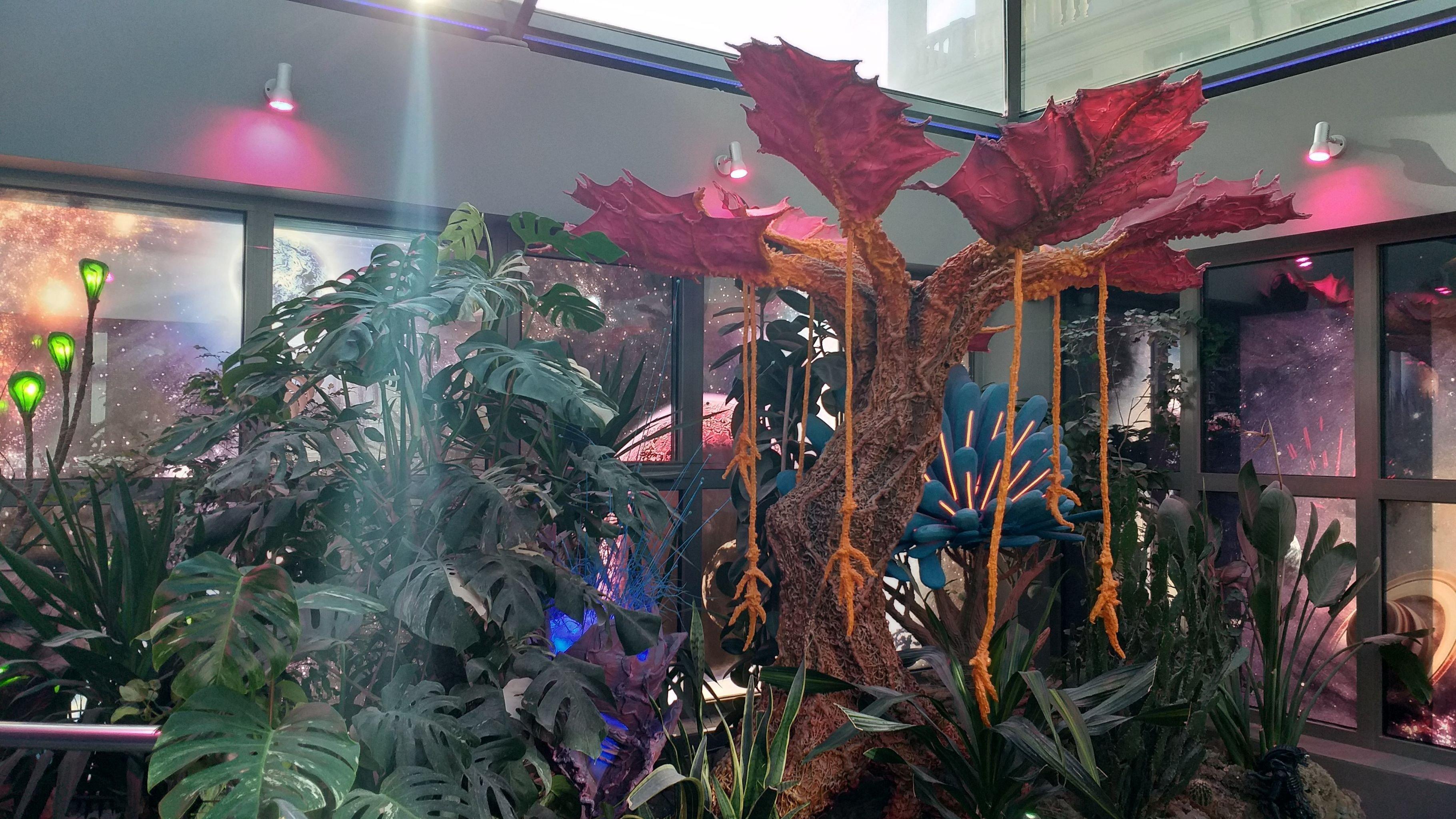 El jardín espacial con las plantas carnívoras.