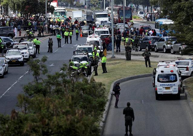 El lugar de coche bomba en Bogotá, Colombia