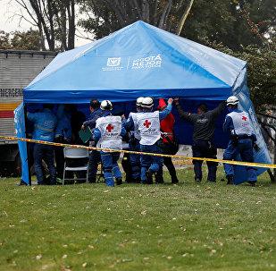 Los médicos en el lugar del atentado en Bogotá