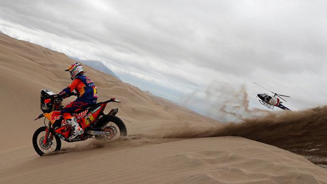 Toby Price, piloto australiano, durante el Rally Dakar 2019