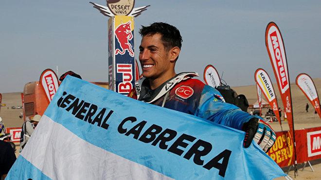 Nicolás Cavigliasso, piloto argentino, tras culminar la última carrera del Rally Dakar