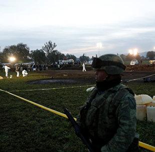 El lugar de la explosión en Tlahuelilpan, México