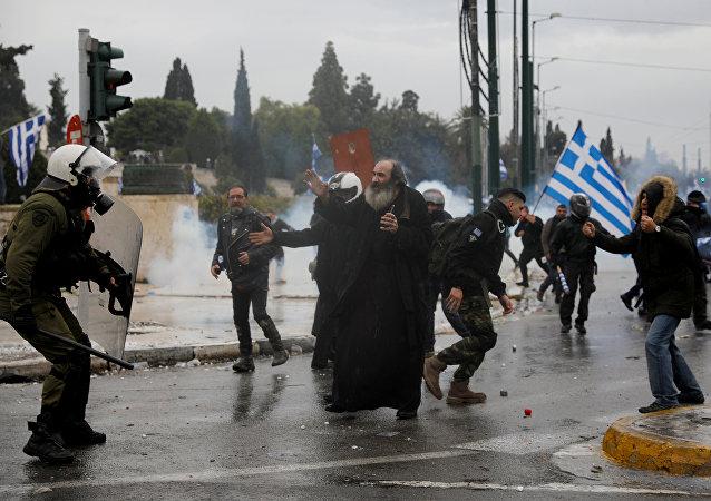 Protestas en Atenas