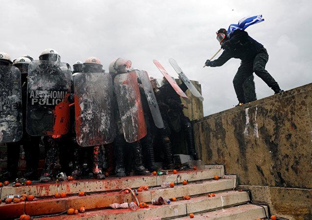 Enfrentamientos en Atenas
