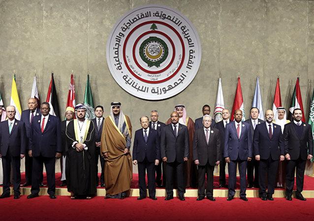 Delegaciones participantes en la cumbre económica de la Liga Árabe en Beirut