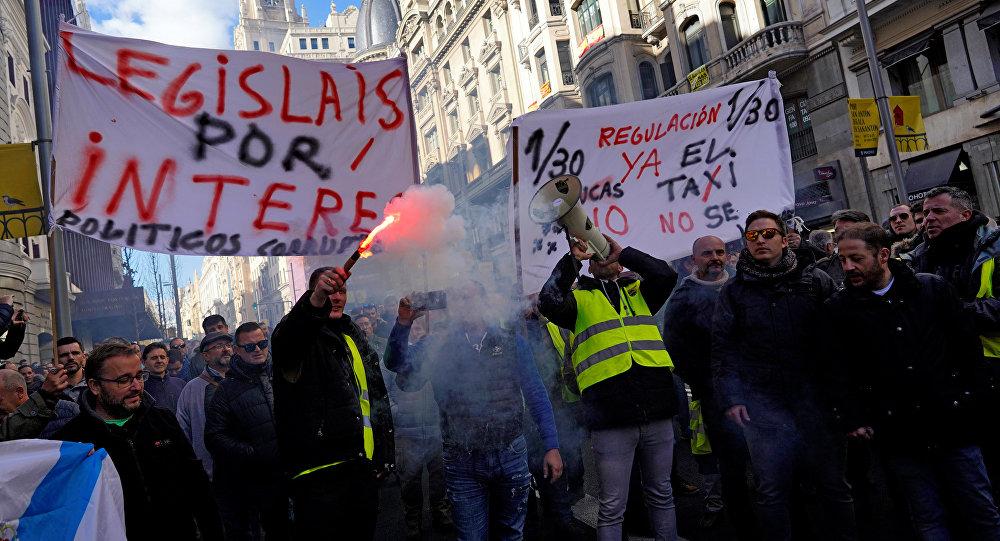 Huelga de los taxistas en Madrid