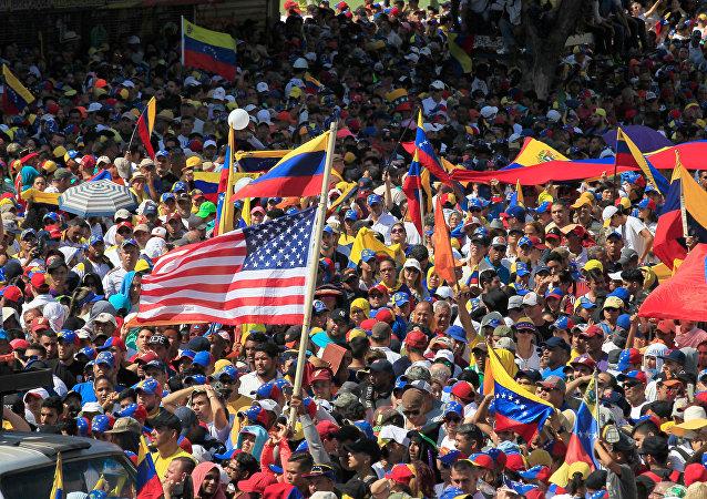 Una manifestación de opositores al Gobierno de Nicolás Maduro en Caracas