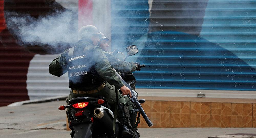 Guardia Nacional Bolivariana durante las protestas en Caracas
