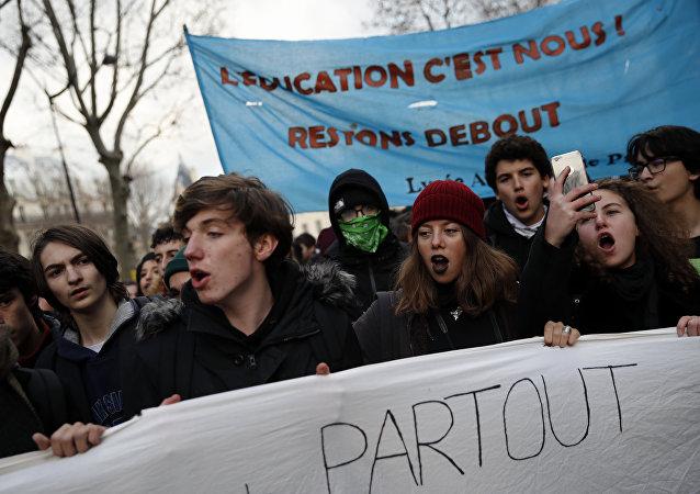 Protestas de estudiantes en París, foto de archivo