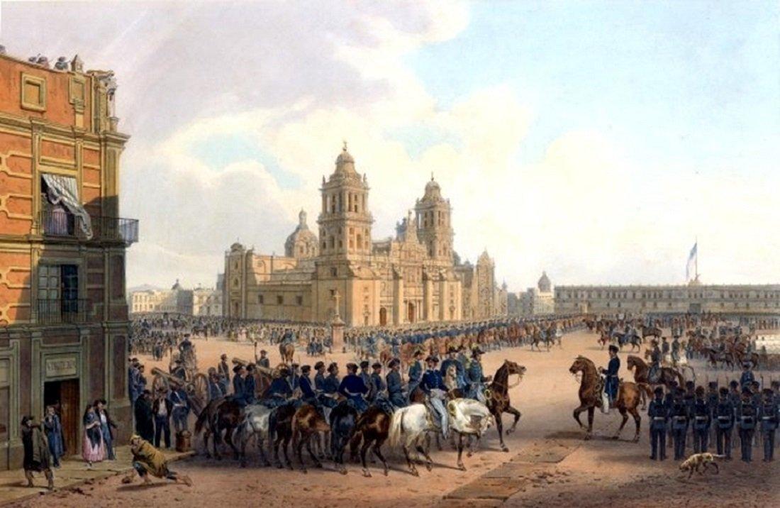 Ocupación de la Ciudad de México durante la guerra de EEUU-México, una pintura de Carl Nebel, 1851