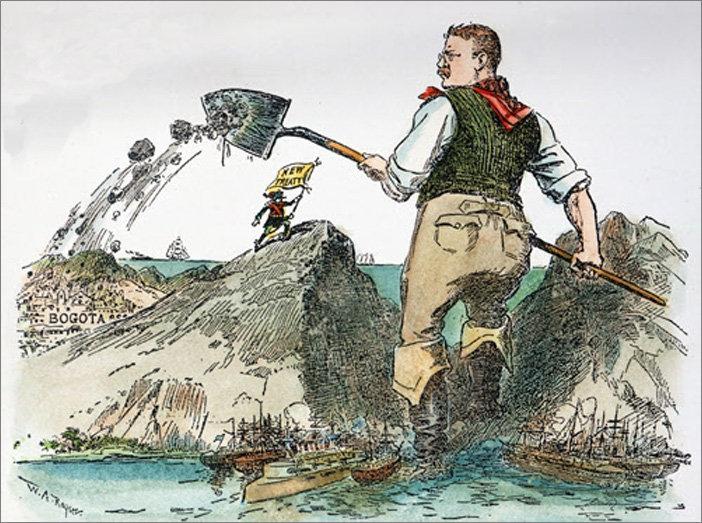 El presidente de EEUU, Theodore Roosevelt, cava el Canal de Panamá y arroja la tierra sobre Colombia (caricatura, 1904)