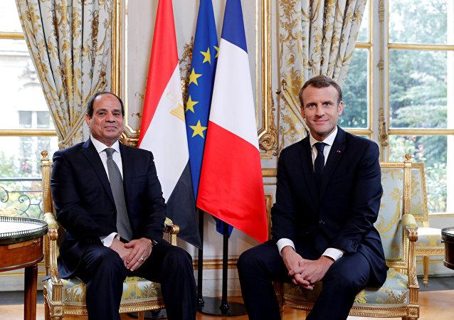 Presidente de Egipto, Abdelfatah Sisi, y presidente de Francia, Emmanuel Macron (archivo)