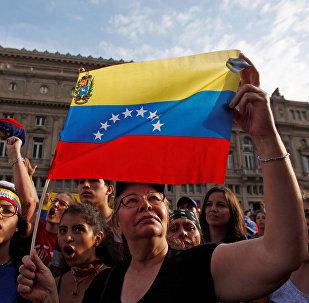Una manifestación de opositores venezolanos en Buenos Aires