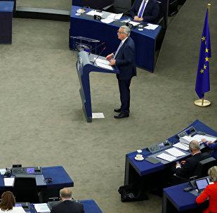 Presidente de la Comisión Europea, Jean-Claude Juncker, durante una sesión plenaria del Parlamento Europeo