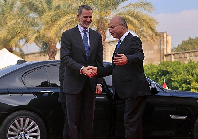 El rey de España Felipe VI y el presidente de Irak Barham Salih