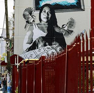 Un mural con el retrato de Yalitza Aparicio