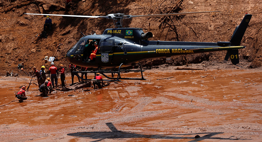 La búsqueda de víctimas en la región de Brumadinho, Brasil