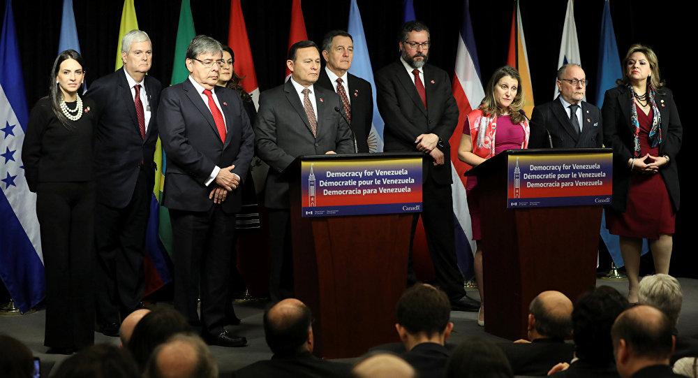 Ceremonia de clausura de la cumbre del Grupo de Lima en Canadá