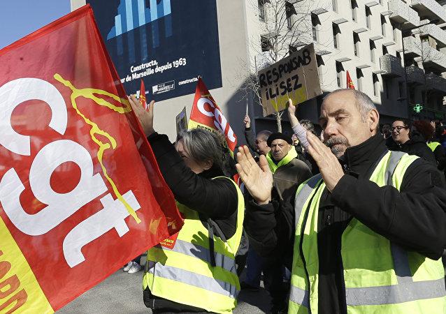 Protesta de los sindicatos franceses