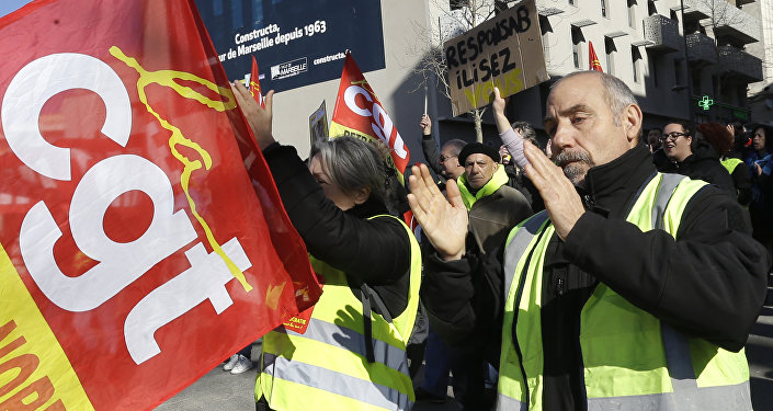 Protesta de los sindicatos franceses