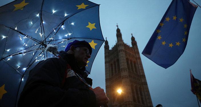 La bandera de la UE en Londres