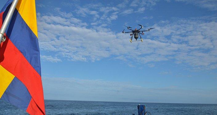 Vuelo del dron que se utilizó para la colocación del cebo para la erradicación de roedores en la isla Seymour Norte