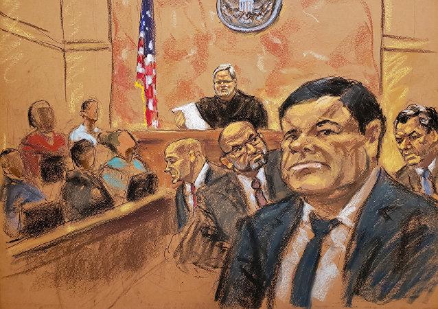 El Chapo Guzmán, en un dibujo de su proceso en la corte