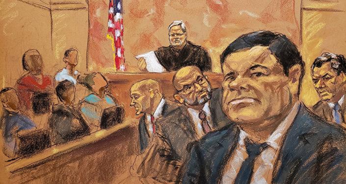 El 'Chapo' Guzmán, en un dibujo de su proceso en la corte
