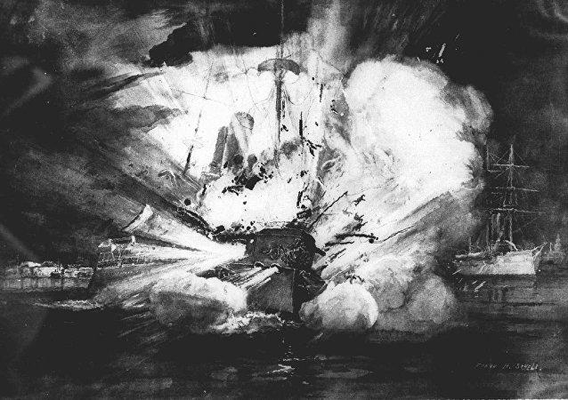 La explosión que destrozó al acorazado estadounidense Maine en el puerto de La Habana, Cuba, el 15 de febrero de 1898, fue dramáticamente retratada en este boceto por un artista de una revista estadounidense de la época.