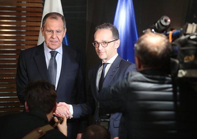 El canciller ruso, Serguéi Lavrov, y el ministro de Exteriores alemán, Heiko Maas