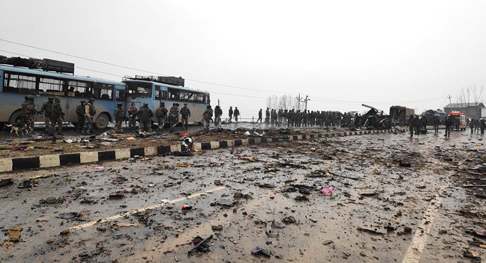 El lugar del atentado en Cachemira, la India