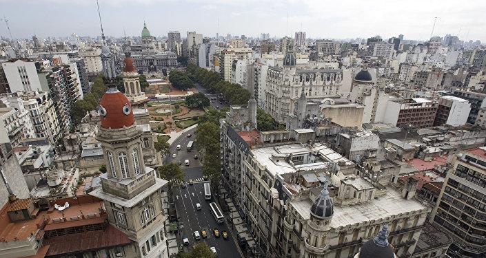 Una vista de la Avenida de Mayo en Buenos Aires
