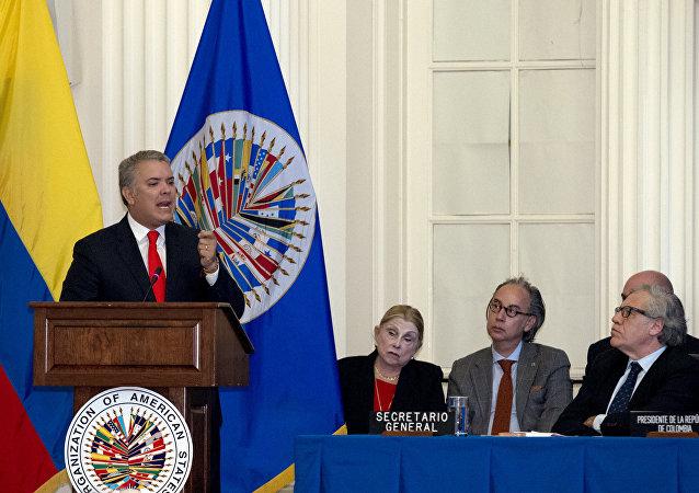 Iván Duque, presidente de Colombia durante su visita a la OEA