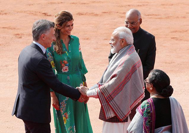 Mauricio Macri, presidente de Argentina con Narendra Modi, primer ministro de la India