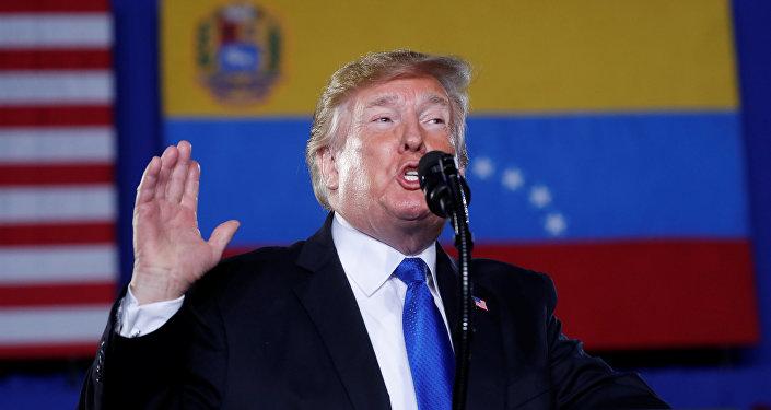 Donald Trump, presidente de EEUU, ofrece discurso sobre la crisis en Venezuela en Miami, el 18 de febrero de 2019