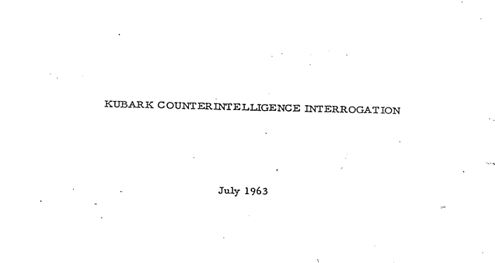 El primer manual de conducta interrogatorio, Kurbark Counterintelligence Interrogation, July 1963