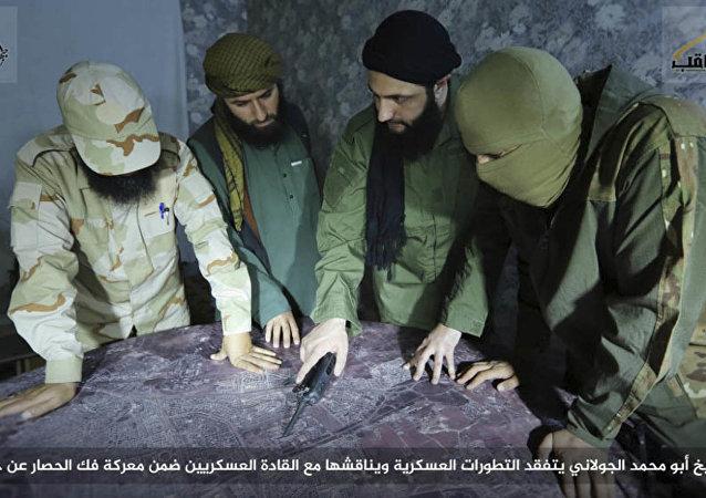 El líder terrorista Abu Mohamad Golani (tercero de izquierda a derecha)