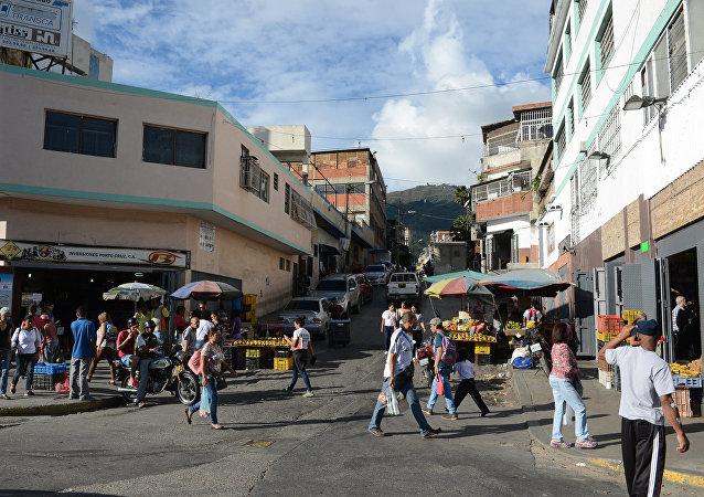 Una calle de un barrio popular de Caracas
