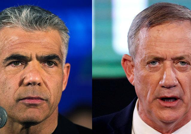 El líder del partido Resiliencia para Israel, Benny Gantz, y el de la formación centrista Hay Futuro, Yair Lapid