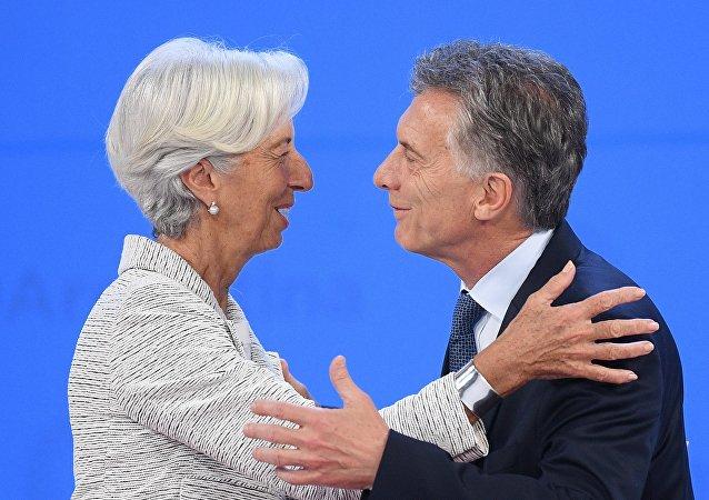 Christine Lagarde, directora gerente del FMI; y Mauricio Macri, presidente de Argentina, durante la cumbre del G20 2018 en Buenos Aires